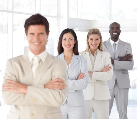 Business team showing Spirit and expressing Positivity Stock Photo - 10249226