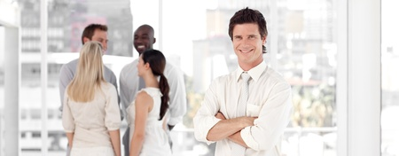 Business team showing Spirit and expressing Positivity Stock Photo - 10247716