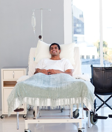 hospital room: Young patient recovering in bed