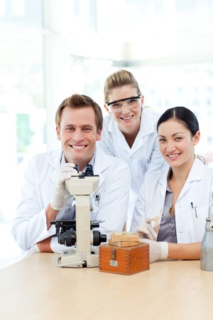 Science students working in a laboratory photo