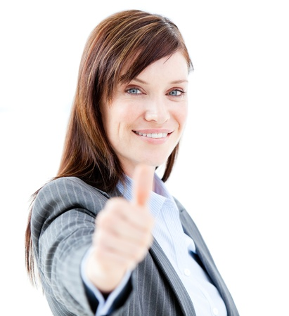 thumbup: Positive businesswoman doing a thumb-up Stock Photo