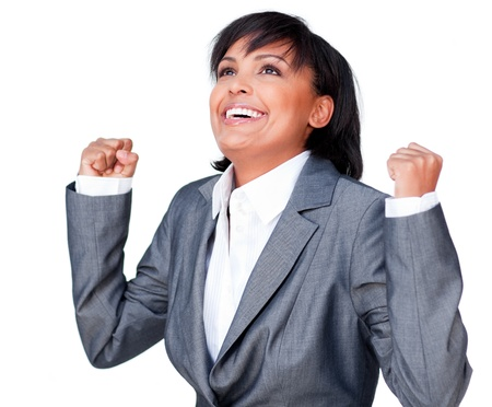Successful businesswoman with open hands photo