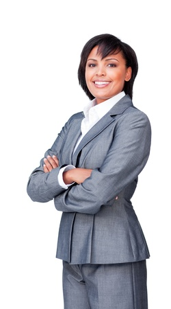 folded arms: Confident businesswoman with folded arms