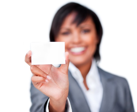 Attractive businesswoman holding a white card photo