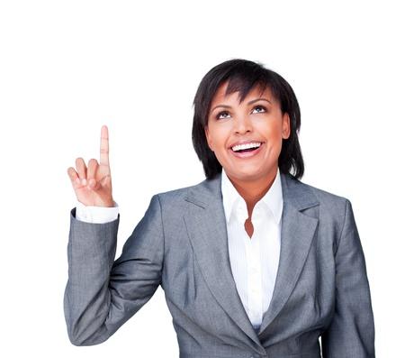 Smiling businesswoman having an idea photo