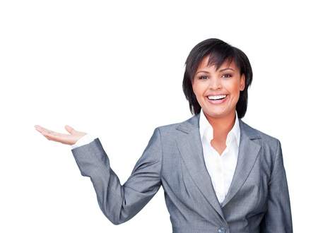 Smiling businesswoman showing a product photo