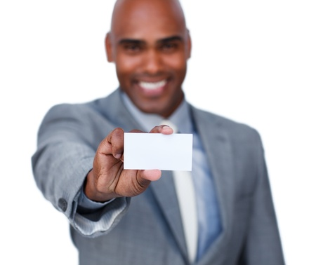 Afro-american businessman holding a white card photo