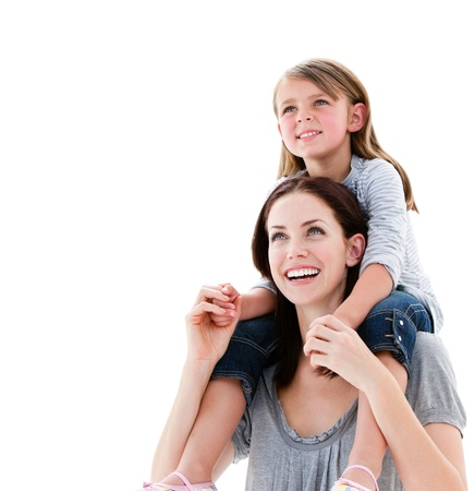 offspring: Cheerful mother giving piggyback ride to her daughter
