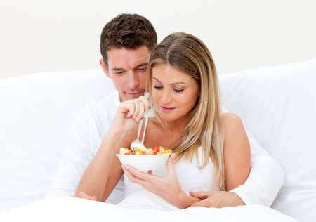 Caucasian couple having breakfast photo