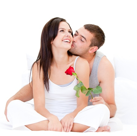 married couples: Charming couple making a kiss Stock Photo