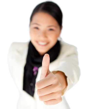 Close-up of a businesswoman with thumb up photo
