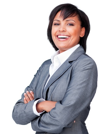 folded arms: Laughing businesswoman with folded arms