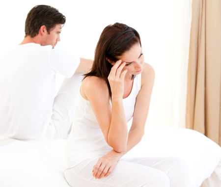 dismal: Unhappy couple having an argument  Stock Photo