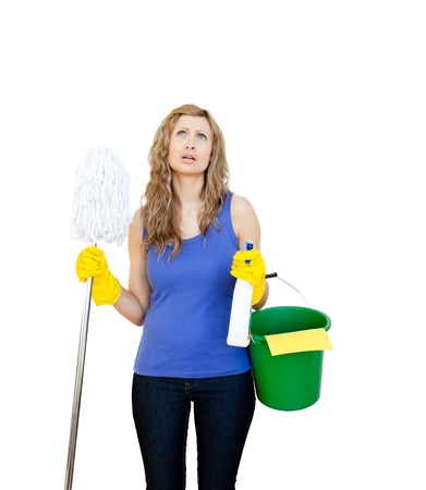 irritate: Portrait of a beautiful woman doing the housework