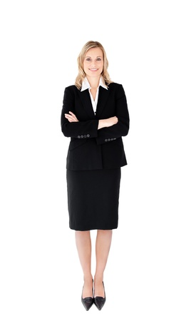 Confident businesswoman against white background in a black suit Stock Photo - 10245387