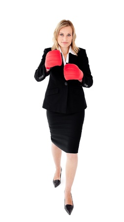 Ambitious businesswoman boxing  wearing a black suit photo