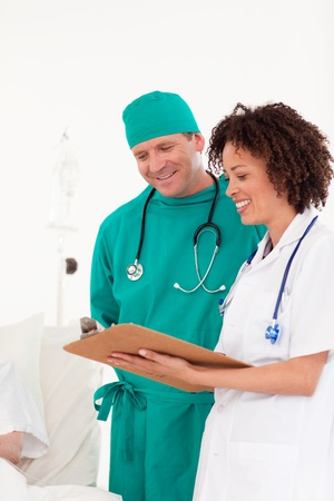 Nice female doctor holding a paper  photo