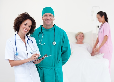 retirement community: Medical team taking notes