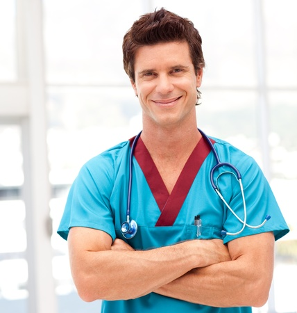 Portrait of a handsome doctor with stethoscope Stock Photo - 10247940
