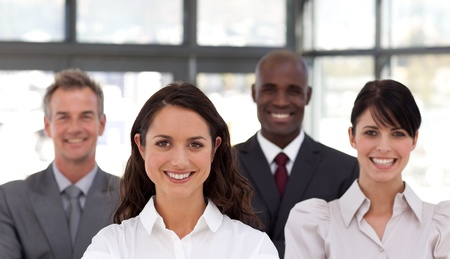 buisinessman: Portrait of happy business people looking at the camera  Stock Photo