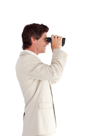 Confident businessman with binoculars Stock Photo - 10234233