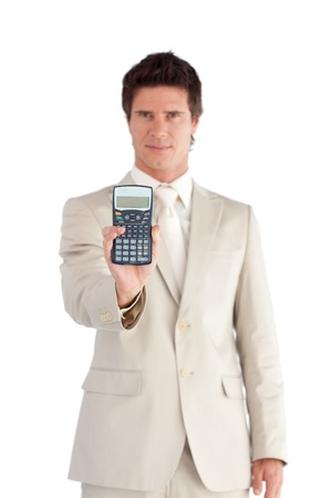 Happy Businessman Holding a calculator in his hands  photo