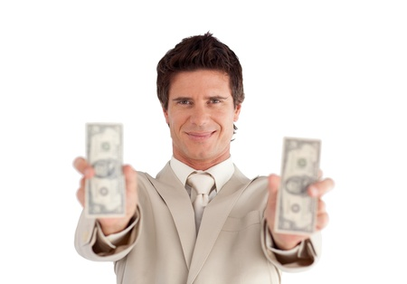 Smiling Businessman holding Dollars Stock Photo - 10247095