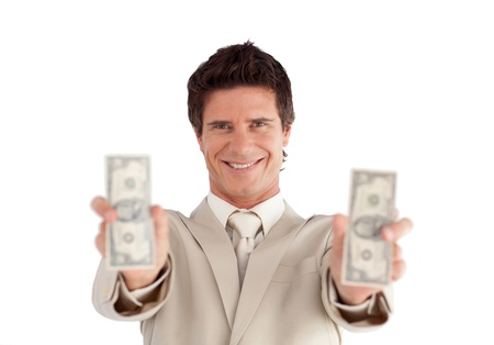Caucasian Businessman holding Dollars  photo