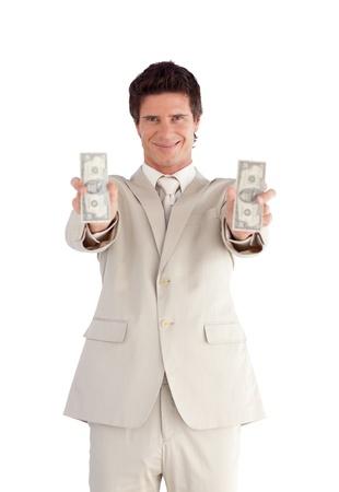 Joyful Businessman holding Dollars  Stock Photo - 10247019