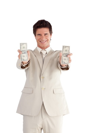 Handsome Businessman holding Dollars Stock Photo - 10233926