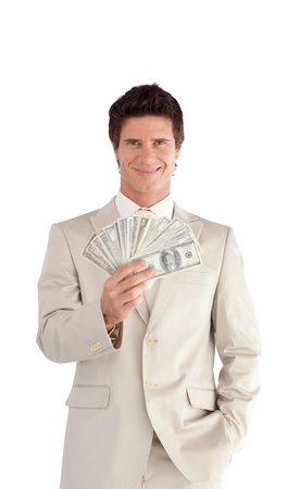 Mature Businessman holding Dollars  Stock Photo - 10247122