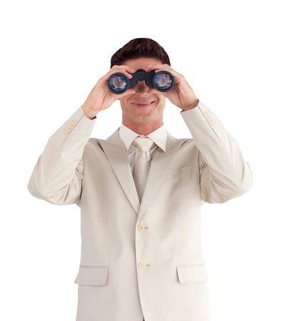 Portrait of a cute  businessman with binoculars Stock Photo - 10234182