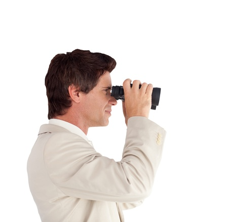 Portrait of a charming businessman with binoculars Stock Photo - 10245883