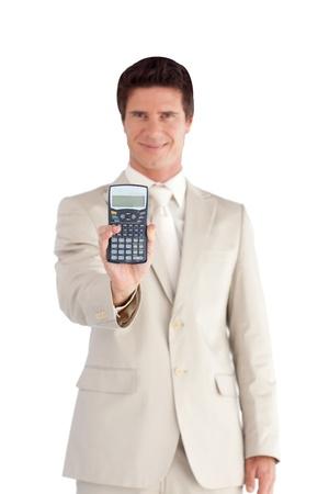 Cute Businessman showing a calculator  photo