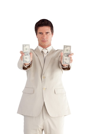Smiling Businessman with Dollars on his hands Stock Photo - 10247007
