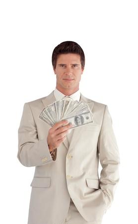 rich man: Carism�tico empresario con d�lares en sus manos Foto de archivo