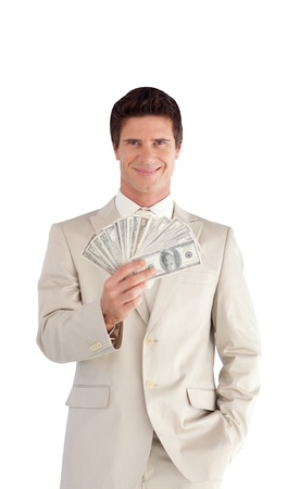 professional Businessman with Dollars on his hands Stock Photo - 10233858
