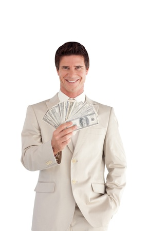 White Businessman with Dollars on his hands photo