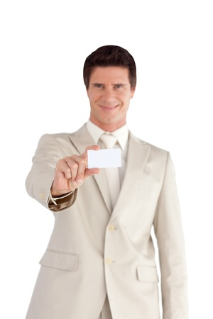 Handsome businessman with a white card photo