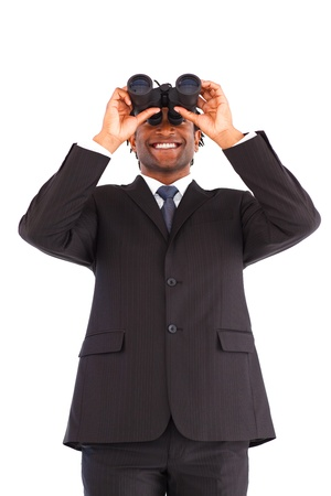 Smiling Afro-American businessman with binoculars Stock Photo - 10246839