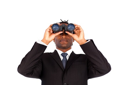 Charsimatic Afro-American businessman with binoculars Stock Photo - 10246218