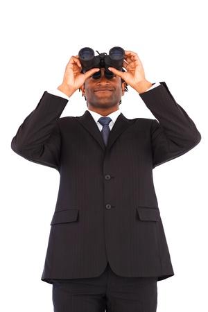 Charming Afro-American businessman with binoculars photo