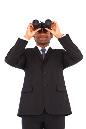 Charming Afro-American businessman with binoculars Stock Photo - 10246643