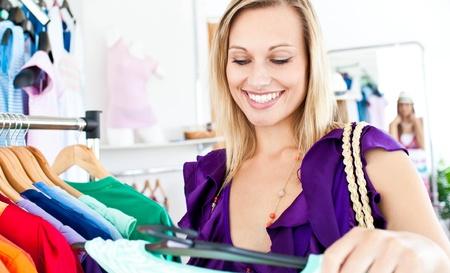 Caucasian woman selecting item  photo