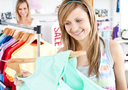 Happy woman selecting item  Stock Photo - 10234239