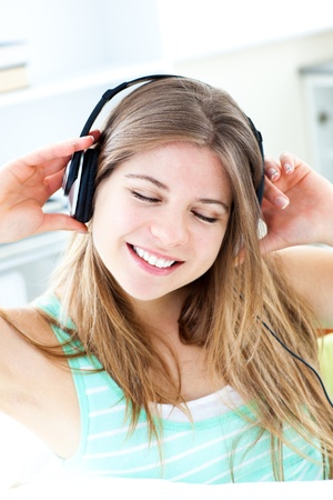 Jolly woman listen to musik photo