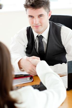 Handsome businessman closing a deal Stock Photo - 10248057