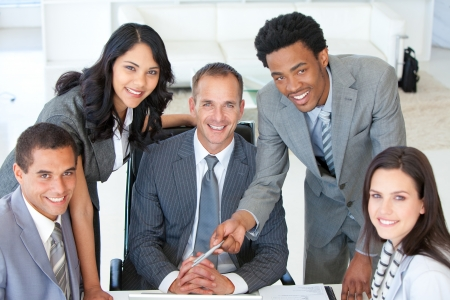 Business people working together in an office photo