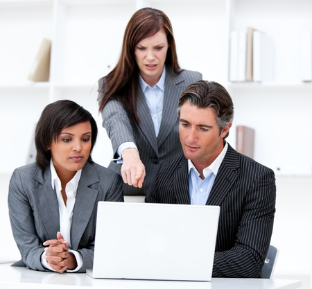 International business team working at a computer photo