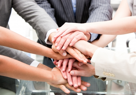 Close-up of a multi-ethnic partners Stock Photo - 10250364